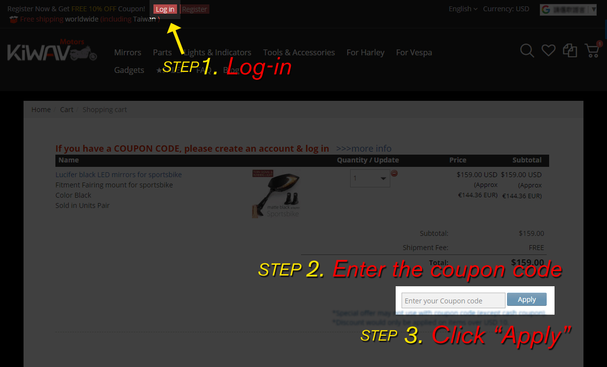 How to use a coupon code in KiWAV motors