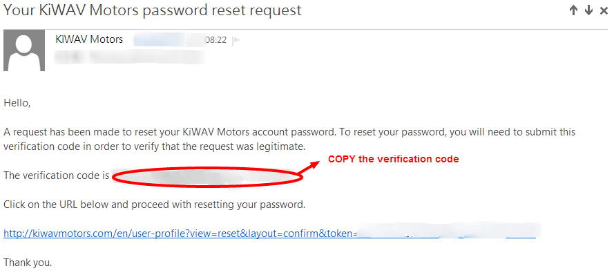 KiWAV Motors member reset password step4