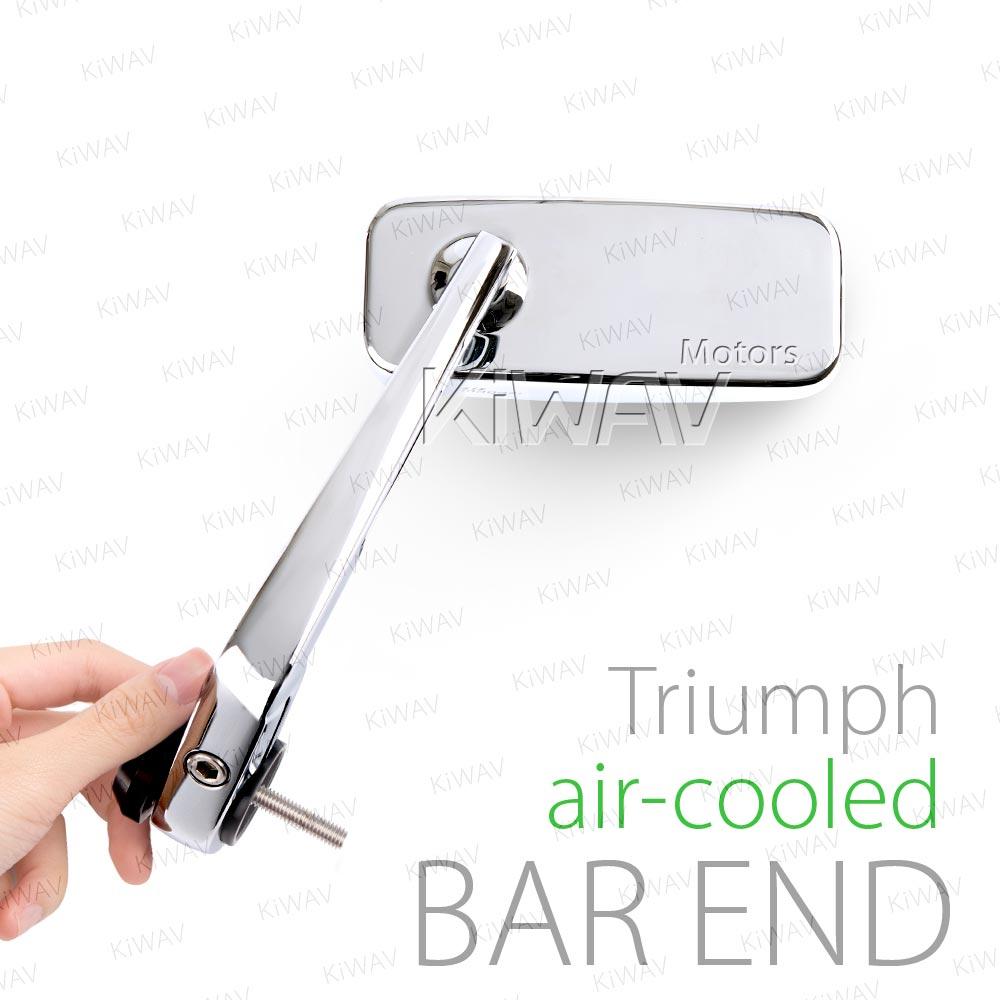 Classic chrome bar end mirrors for Triumph air-cooled motorcycles
