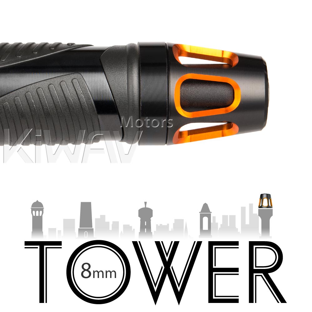 Tower orange bar ends w/ black base 8mm