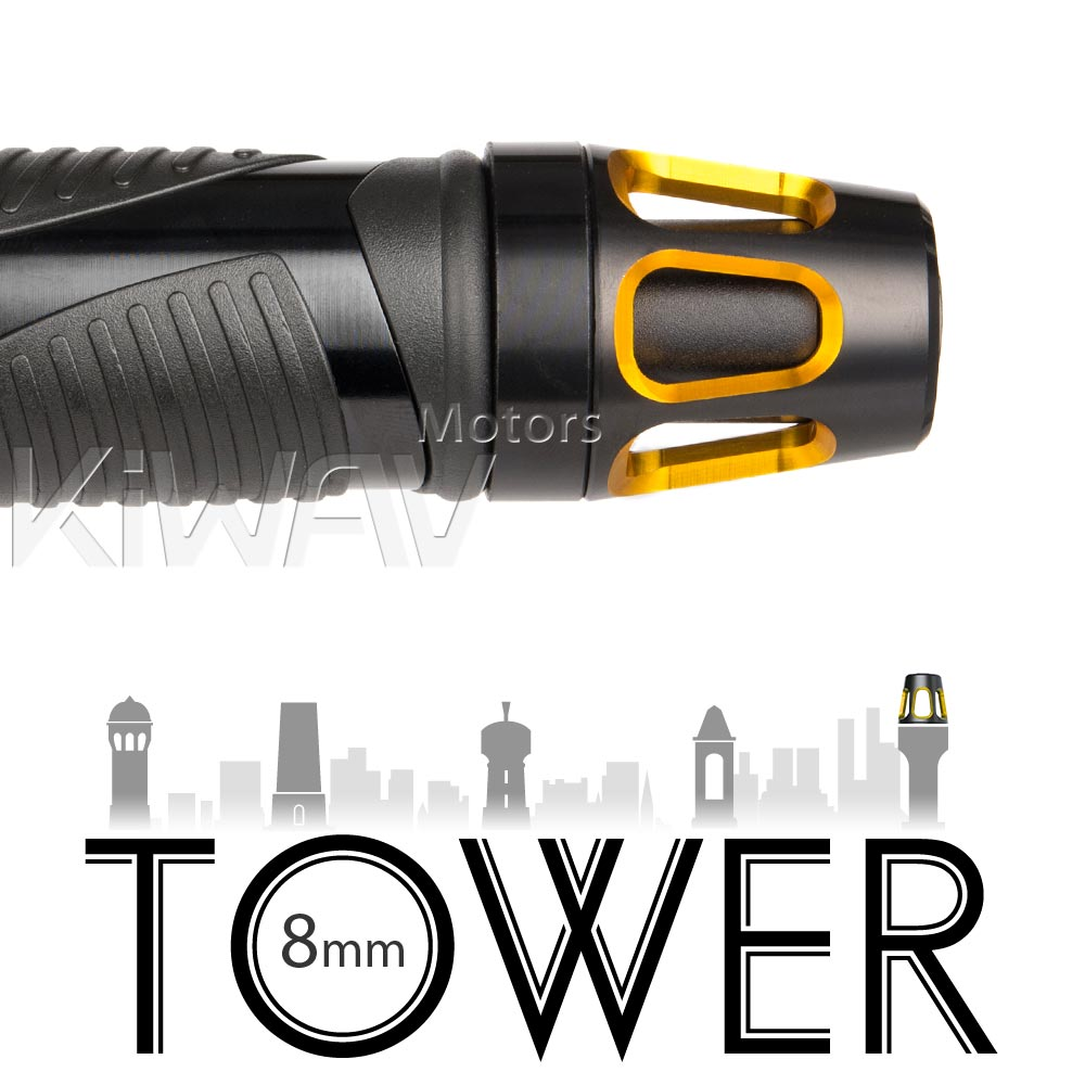 Tower gold bar ends w/ black base 8mm