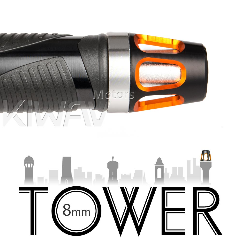Tower orange bar ends w/ silver base 8mm