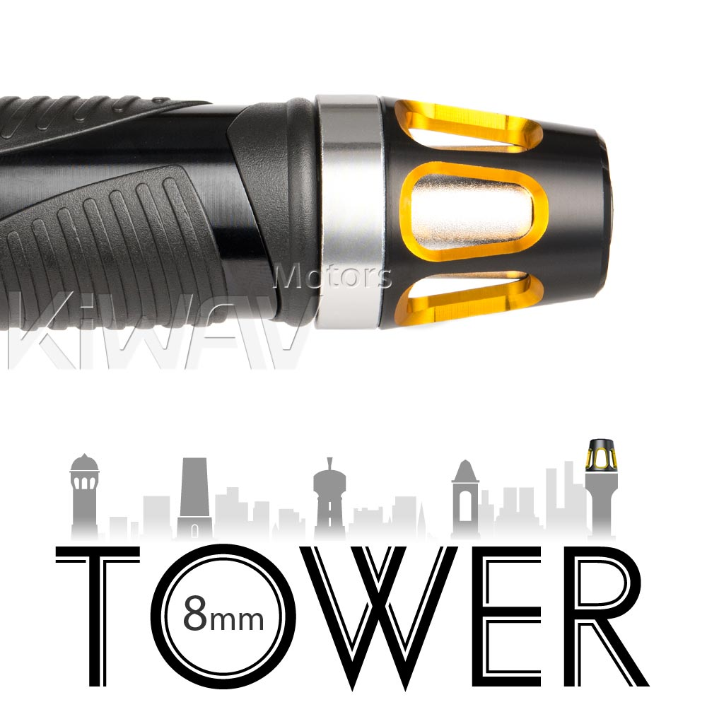 Tower gold bar ends w/ silver base 8mm