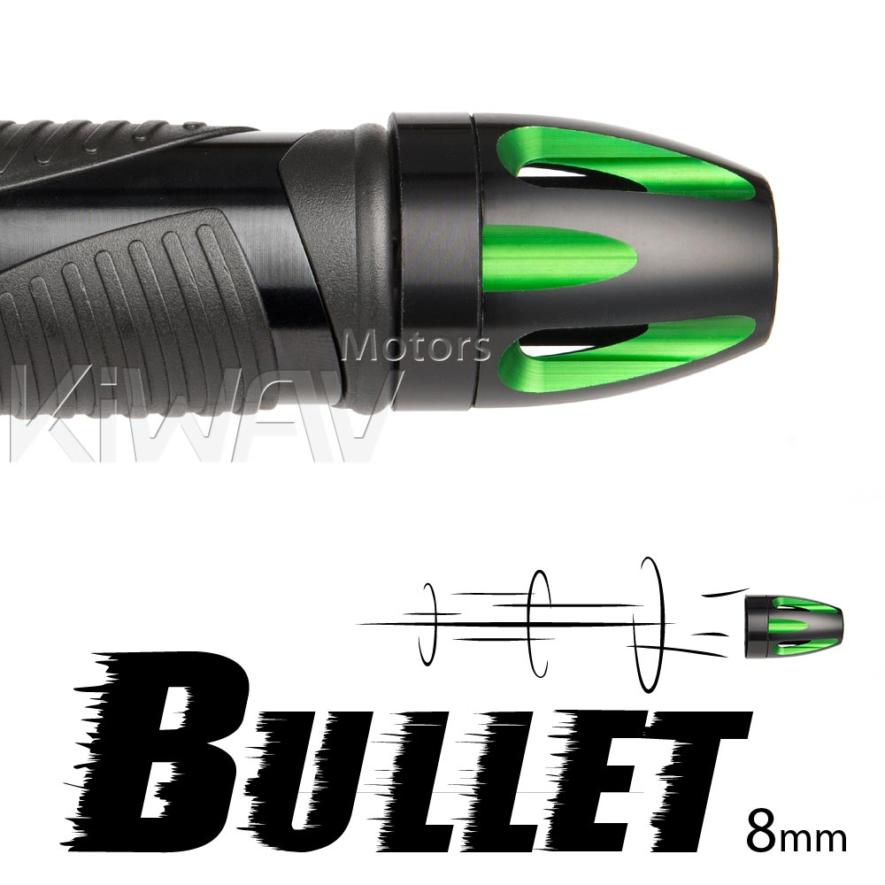 Bullet green bar ends w/ black base 8mm