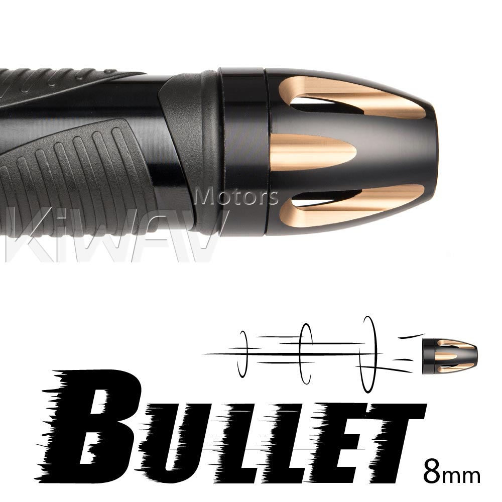 Bullet titanium bar ends w/ black base 8mm
