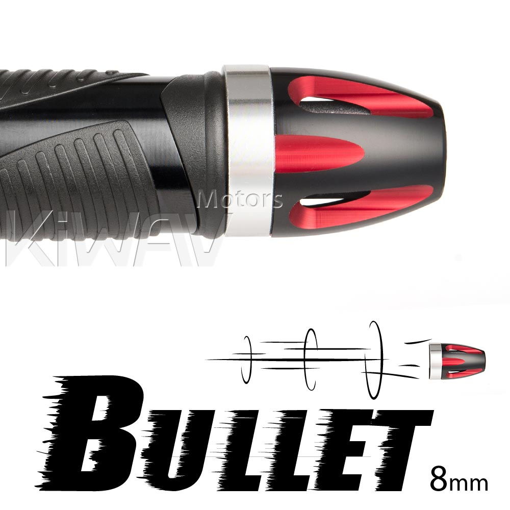 Bullet red bar ends w/ silver base 8mm