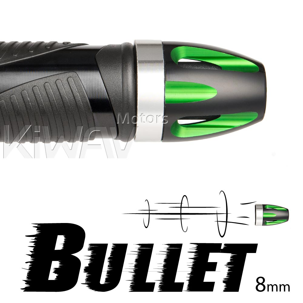 Bullet green bar ends w/ silver base 8mm