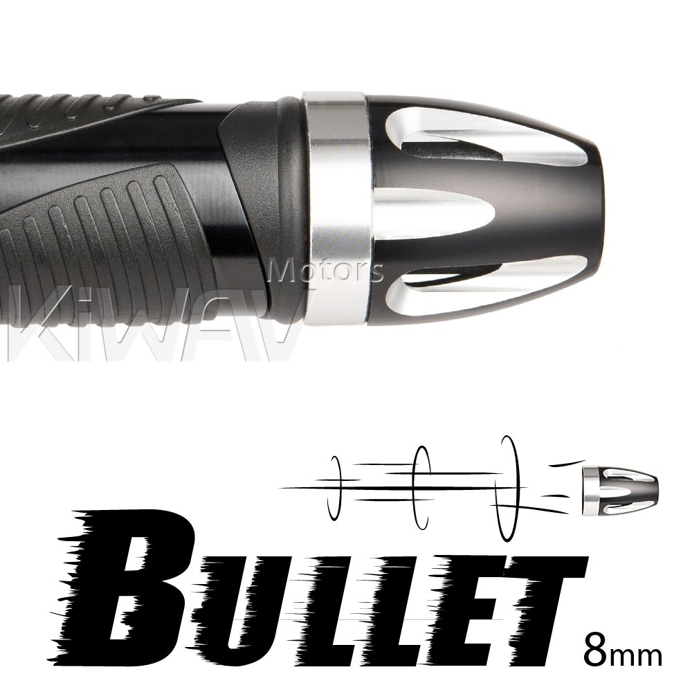 Bullet silver bar ends w/ silver base 8mm