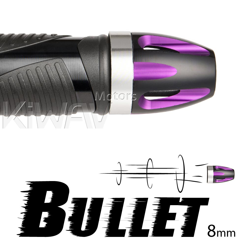 Bullet purple bar ends w/ silver base 8mm