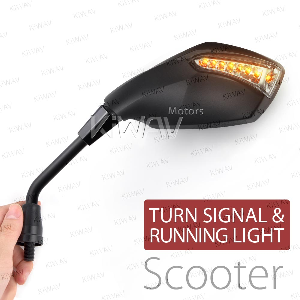 Fist black LED mirrors for M8 scooter with auxiliary LED running light