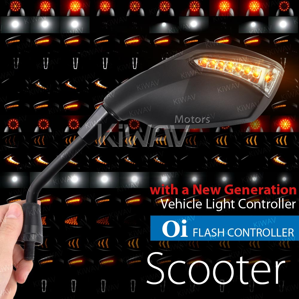 Fist black LED mirrors with Oi flash controller for scooter