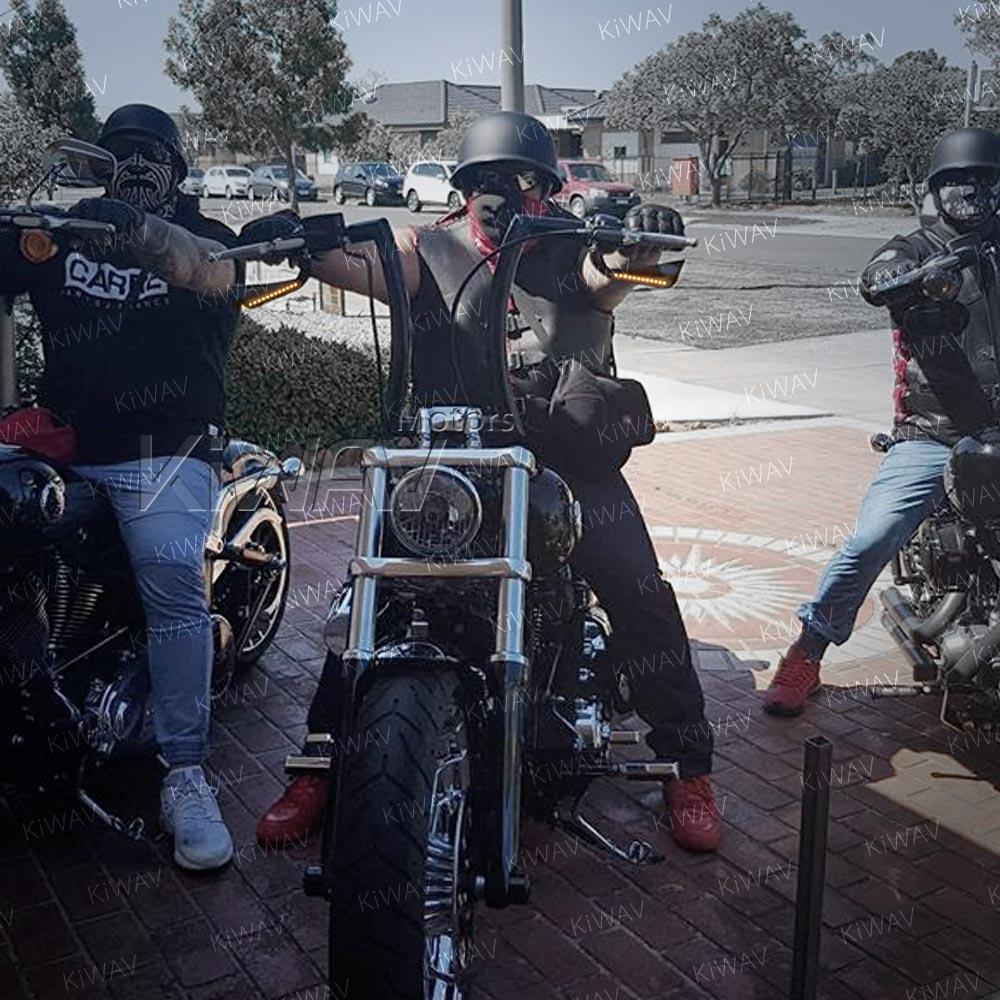 Black Billet Mirror Set LED Indicator Turn Signals Built In Harley Chopper FXST