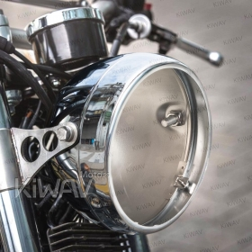 shell/bucket, british style, vintage style, lucas style, clubman style, scrambler style, old school, early model, retro,5-3/4 inch side mount motorcycle headlight bucket black chrome