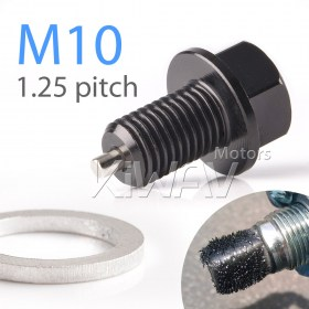 Magazi anodized black aluminum magnetic oil drain bolt plug M10 x P1.25 FOR OFF ROAD BIKE, Yamaha