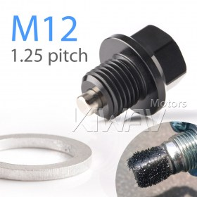 Magazi anodized black aluminum magnetic oil drain bolt plug M12 x P1.25 FOR OFF ROAD BIKE, Suzuki
