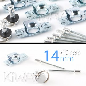 Magazi 1/4 turn Quick Release Fastener Motorcycle Scooter Fairing rivet on 14mm 10 Pieces Chrome