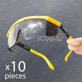 General purpose safety glasses VA200, yellow frame, smoke lens 10 pcs VAWiK eye protection, Safety glasses, protective eyewear, safety spectacles, safety eyewear ( 10-Pack )(12-pack),outdoor sports eyewear,protective sports eyewear ,for workout and casua