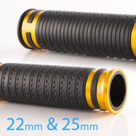 Magazi Cyber grips anodized aluminum gold trim a pair 25mm 22mm universal fit 7/8