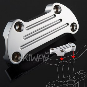 KiWAV aluminum chrome finned Top upper custom Clamp for Harley Davidson bike 1 inch handlebar , dyna softail, chopper, aftermarket riser