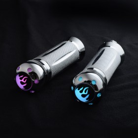 KiWAV Flame aluminum multi-color LED handlebar grips 1 inch for Harley Davidson