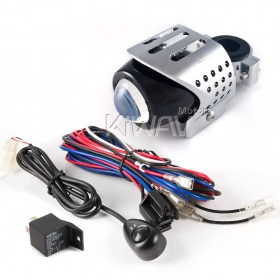 MG-7094 Round fisheye Fog Light chrome & Wiring Harness Set WK003